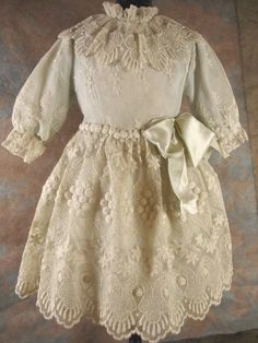 Wonderful Lace Over Dress for an Antique Doll from fancyandfine on Ruby Lane