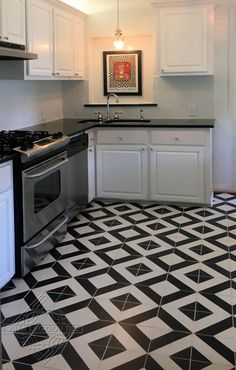 This bold black and white kitchen design will always be in style! Our Diagonal Four cement tile is a perfect pattern. White Vinyl Flooring, Black And White Flooring, Vinyl Flooring Kitchen, Black And White Tiles, Black Floor, Checkered Floor Kitchen, White Kitchen Floor, Patterned Kitchen Tiles, Kitchen Floor Tile Patterns