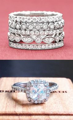 Pair these diamond bands with your favorite engagement ring for an extra touch of sparkle! Not a fan of the engagement ring but we can swap that out Bling Bling, The Bling Ring, Wedding Rings For Women, Wedding Bands, Jewelry Box, Jewelry Accessories, Bijoux Diy, Brilliant Earth, Dream Ring