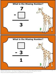 FREE Subtraction: Here are six free Common Core math subtraction facts task cards (2 per page) focusing on Common Core kindergarten and first grade. https://www.teacherspayteachers.com/Product/Subtraction-Task-Cards-1st-Grade-Math-Facts-Missing-Number-FREE-Download-889221?aref=txprc8lh