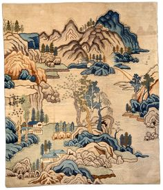 A Chinese rug BB3754 - A second quarter 20th century Chinese pictorial rug having an oatmeal field depicting a landscape of hills, houses ...