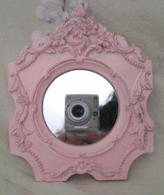 Very Ornate Shabby Pale Pink Chic Chippy Flowers Mirror Cottage Paris Victorian Romantic