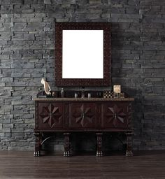 """James Martin 150-V60S-ANW-TBR Balmoral 60"""" Antique Walnut Single Vanity with Tropical Brown Stone Top"""