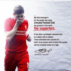 Thank You for everything you have done for the club.. Fantastic Captain....will be miss you @stevengerrad #liverpool #LFC #stevengerrad