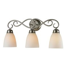 Cornerstone Lighting Chatham 3 Light Vanity Light Finish/Glass Color: Brushed Nickle/White