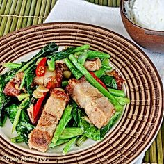 Pork belly with chinese broccoli. My FAVOURITE Thai dish. Whenever I see pork belly on the menu, I must order it!