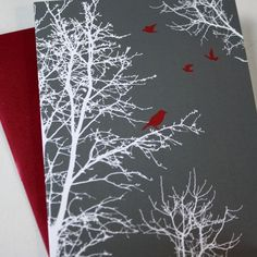 Holiday Cards / Christmas Cards - Set of 8 - Peaceful Winter Silhouette Trees and Birds