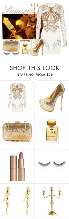 """""""Beauty and the Beast: Lumiere"""" by adricampas ❤ liked on Polyvore featuring Lumière, sass & bide, Charlotte Russe, NLY Accessories, Mary Greenwell, Charlotte Tilbury, shu uemura, Jung Ee Eun and Leeber Limited"""