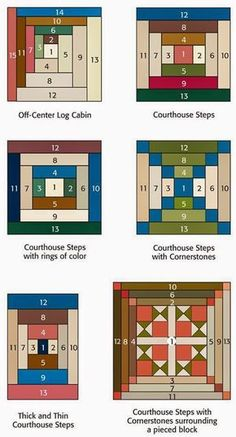Entretelas y patchwork: Log Cabin Log-Cabin and variations. Good article about log cabin designs. patchwork na Stylowi. Log cabin and courthouse steps quilt blocks Variations of log Cabin blocks from the book Log Cabin Fever. Log Cabin Quilts, Patchwork Log Cabin, Édredons Cabin Log, Log Cabin Quilt Pattern, Barn Quilts, Log Cabins, Rustic Cabins, Patchwork Patterns, Quilt Block Patterns