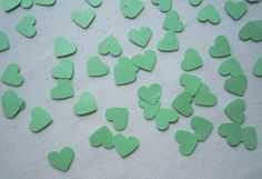 """""""Mint Sweets"""" Sweeten any part or event you host with these lovely green hearts. 300 count confetti: ~ 300 large mint green hearts (solid) Piece Sizes: Large Heart = x *Made with construction paper Mint Sweets, Scrapbook Embellishments, Construction Paper, For Your Party, Mint Green, Confetti, Counting, Hearts, Table Decorations"""