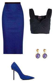Pencil skirt: Rounal Mouret, Crop top: Giselle de Pieces, shoes: Barbara Bui, Louis Vuitton earrings.