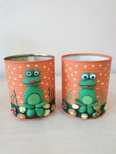 Tin Can Crafts, Diy And Crafts, Crafts For Kids, Arts And Crafts, Ceramic Flower Pots, Rock Painting Designs, Stone Crafts, Fabric Jewelry, Nature Crafts
