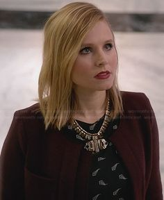 Jeannie's black printed dress and burgundy jacket on House of Lies.  Outfit Details: http://wornontv.net/26338/ #HouseOfLies