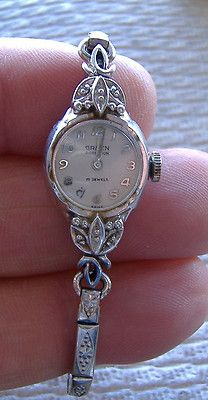 14K Gruen Precision Ladies Watch - Round Vintage White