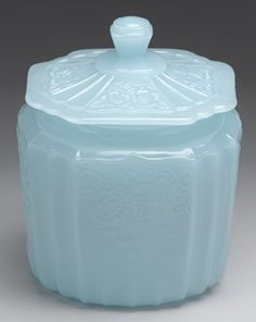 Blue Opaline Depression Glass Jar