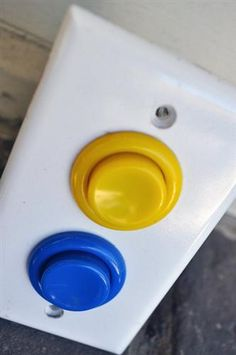 Arcade button light switch. Love this idea for game room.