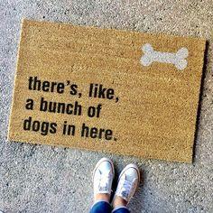 """the """"bunch of dogs in here"""" doormat - gift for animal lovers, doormat for animal lovers, dog lover, dog doormat, housewarming gift, gag gift"""