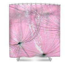 Dandelion Glow on Pink Bokeh 2 by Kaye Menner Shower Curtain
