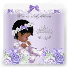 African American Lavender Gray Baby Shower Girl