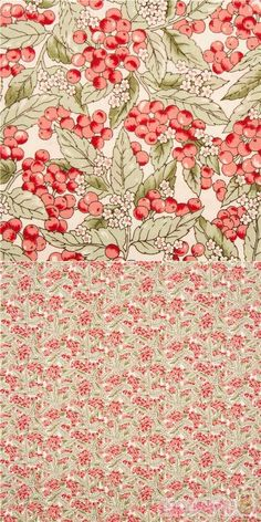 Japanese cream cotton fabric with illustrated red berries, foliage, flowers, specially imported from Japan from small makers, 100% cotton, very high quality fabric, typical perfect Japanese quality, good for those who love Liberty Fabrics and Lasenby Cotton #Cotton #Flower #Leaf #Plants #Christmas #JapaneseFabrics