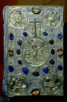 Czar's Jewel-encrusted Gospels.jpg Kremlin Armory, Moscow, Russia  This magnificent hand-hammered silver and gold covered book of the four gospels is covered with uncut precious stones. It was presented in 1571 by Czar Ivan IV (the Terrible) to the Church of the Annunciation. The pious czar's forces were at that moment sacking Novgorod, and the czar prayed for the 1,500 citizens of Novgorod who were killed. The four circular areas in the corners are reserved for the four evangelists of the…