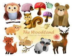 The woodland animals | 300 dpi, jpeg, png. printable. by DoubleColors on Etsy