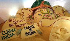 Sudarsan Pattnaik creates beautiful sand art marking Narendra Modi's 65th Birthday and Ganesh Chaturthi   Latest News & Gossip on Popular Trends at India.com