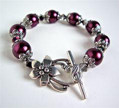 Chunky pearl bracelet  cranberry and silver by sparklecityjewelry