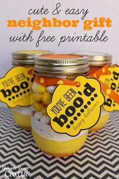Cute & easy Halloween neighbor gift with free printable