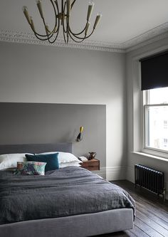 Bedroom with neutral Slate wall paint and warm grey colour block painted headboard in Sharkskin Grey Bedroom Paint, Bedroom Wall Colors, Colour Blocking Interior, Paint And Paper Library, Bedroom Minimalist, Romantic Bedroom Decor, Trendy Bedroom, Headboards For Beds, Painted Headboards