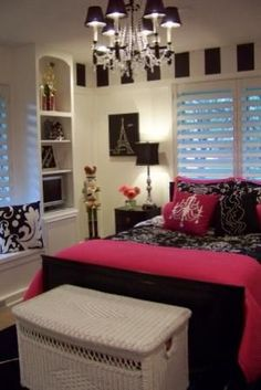 My daughter would LOVE this!!!   Teenage Girls Bedroom - id love that for my grown up room!! Lol minus a few pink details..
