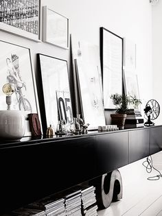 Easy And Cheap Useful Ideas: Floating Shelves Decoration Inspiration floating shelves design tvs.How To Build Floating Shelves Built Ins. Decoration Inspiration, Interior Design Inspiration, Interior Styling, Interior Decorating, Decorating Ideas, Stockholm Apartment, Sweet Home, Black And White Interior, Black White