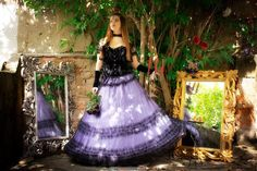 GOTH WEDDING SKIRT purple bridal maxi skirt by DarkDesireStore