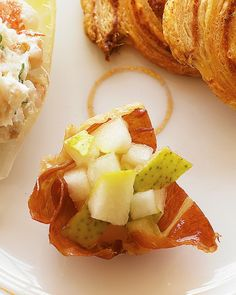 See the Crispy Prosciutto Cups with Pear in our Super-Easy Appetizers gallery  *Maybe a Pear/Apple chutney???