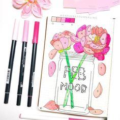 Floral mood tracker by @explorejournaling, Instagram