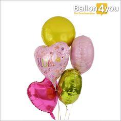 Großes Geschenk zum Muttertag Ballonbukett       Die Liebe zur Mama lässt sich nur schwer beschreiben. Mit diesem Ballonbukett verdeutlichen Sie jedoch am Muttertag wie tief Ihre Liebe zu ihr wirkt. Fünf Folienballons in verschiedenen Formen und Farben sind ein Highlight zum Verschenken.