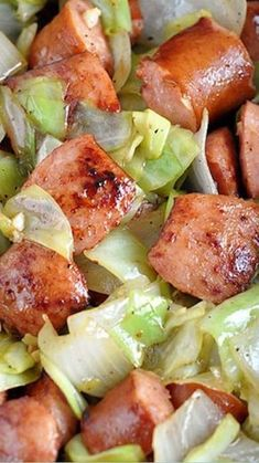 Low carb cabbage recipes Kielbasa and Cabbage Skillet Gluten free • Serves 4 Meat: 2 lbs Polska kielbasa, fully cooked Produce: 3 cloves Garlic 1 Head cabbage 1 Sweet onion, large Condiments: 1 tsp Dijon or brown grainy mustard Baking & Spices: t Crock Pot Recipes, Pork Recipes, Slow Cooker Recipes, Paleo Recipes, Dinner Recipes, Cooking Recipes, Easy Recipes, Delicious Recipes, Recipies