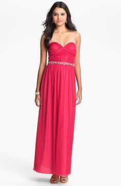 Way-In Strapless Pleated Chiffon Gown (Juniors) | Nordstrom
