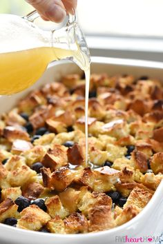 Lemon Blueberry Overnight Baked French Toast with Lemon Syrup by fivehearthome #French_Toast #Lemon #Blueberry #Overnight