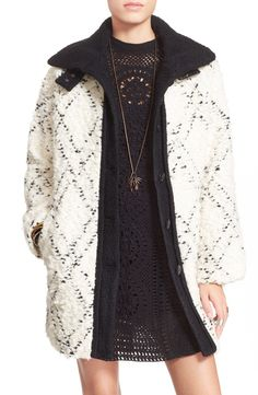 Free People High Collar Bouclé Coat