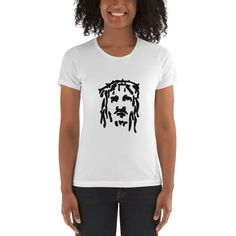 Wearing the crown oof thorns with his dreads flowing free. Black Jesus, Dreads, Heather Grey, Fabric, Cotton, How To Wear, Shirts, Tops, Women