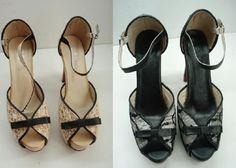zapatos forrado con tres tejidos(polipiel negro,seda beig,gasa con motivos) (forradodezapatos.com) Ahora son exclusivos y únicos no habrá dos iguales en el mundo