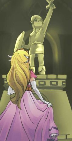 WW Zelda looking at the statue of the Hero of Time.