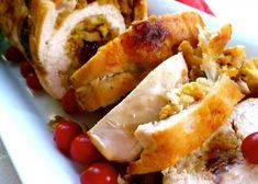 """Cranberry Stuffed Turkey Breasts Recipe - - """"I made these once for a holiday dinner party, and they were such a hit that I started making them for Thanksgiving instead of a whole turkey. Easy Thanksgiving Recipes, Thanksgiving Turkey, Holiday Recipes, Dinner Recipes, Hosting Thanksgiving, Holiday Meals, Christmas Recipes, Canadian Thanksgiving, Christmas Turkey"""
