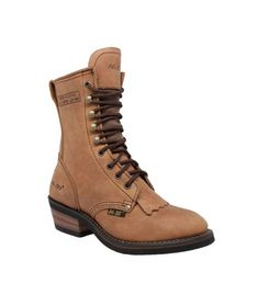 This 8 inch crazy horse leather packer boot is a popular packer style boot  for ladies. It has solid brass hooks and eyelets that resist breakage and  resist ...