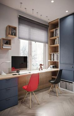 Contemporary Home Office Design Ideas. Therefore the need for home offices.Whether you are planning on including a home office or renovating an old room into one right here are some brilliant home office design ideas to aid you start. Small Room Bedroom, Small Rooms, Small Apartments, Bedroom Wall, Bedroom Decor, Studio Apartments, Bedroom Lighting, Bedroom Ideas, Wall Decor