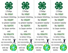 Printable 4H bookmarks! Great idea for new members.