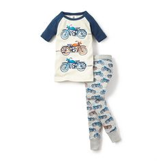 Racing Moto Pajamas   He'll go to bed each night dreaming of cool bikes and sporty cycles in these fun motoriffic pajamas.