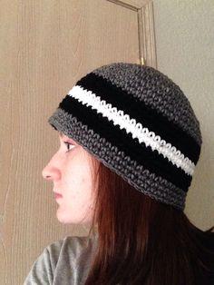 Single crochet mens beanie. Black, white, and grey