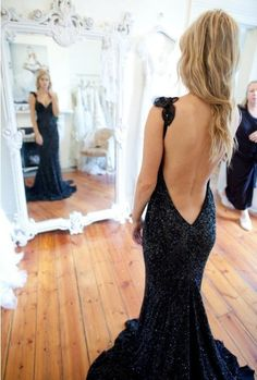 TOP SEXY LUXURY black sequins beading DEEP V BACK spaghetti straps fish tail long evening dress/gowns women custom free shipping-in Evening ...
